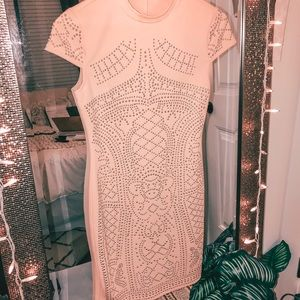 hp!! Pink & Gold Studded Fitted Bodycon Dress XS